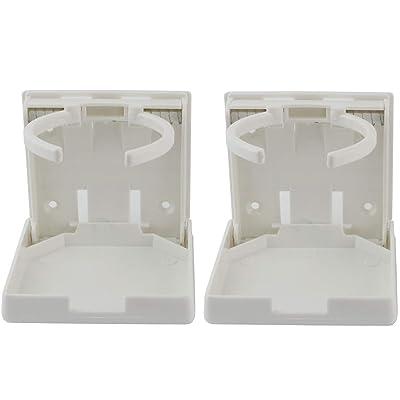 Ogrmar 2PCS Adjustable Folding Drink Holder/Adjustable Cup Holderfor Marine/Boat/ Caravan/Car (White): Automotive