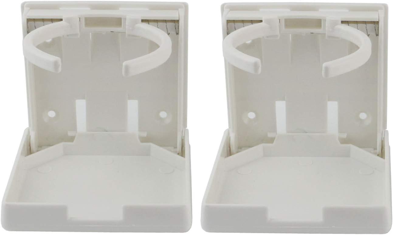 Ogrmar 2PCS Adjustable Folding Drink Holder/Adjustable Cup Holderfor Marine/Boat/ Caravan/Car (White)