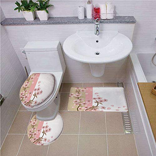 Bath mat Set Round-Shaped Toilet Mat Area Rug Toilet Lid Covers 3PCS,Japanese,Romantic Sakura Blooms Flowers Petals Spring Wind Eastern Nature Theme,Sand Brown Light Pink,Bath mat Set Round-Shaped to