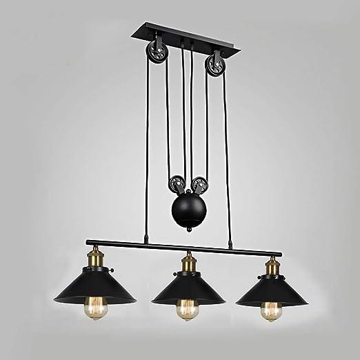 Luz colgante de techo vintage industrial, retro polea suspendida ...