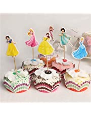 Princess Cupcake Toppers - Girls Party Supplies Cake Topper Birthday Fruits Cup Party Supplies for Princess Party Decoration (Set of 24)