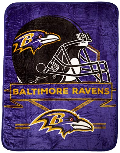 (NFL Baltimore Ravens Prestige Plush Raschel Throw, 60