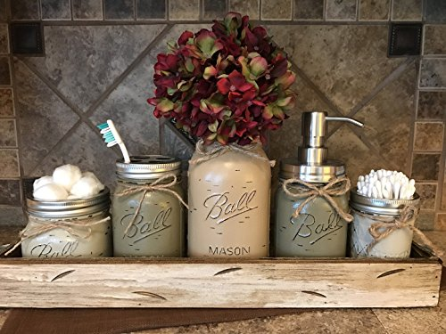 Ball Mason Jar BATHROOM ULTIMATE SET Antique WHITE Tray ~Toothbrush, Quart Jar (flower optional) Cotton Ball Soap Dispenser ~JARS Distressed Stainless Steel Accessories Gray Blue Green Cream Tan (Antique Quart)