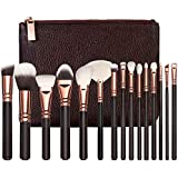 STELLAIRE CHERN Professional Makeup Brush Set 15pcs Wood Handle Essential Makeup Kit with PU Leather Bag - Black