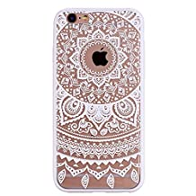 """GreenDimension Ultra Thin [Shockproof] Silicone TPU Gel Bumper Henna White Floral Paisley Flower Mandala Embossed Pattern Transparent Hard PC Acrylic Back Protective Case Cover for iPhone 6 6s 4.7"""""""