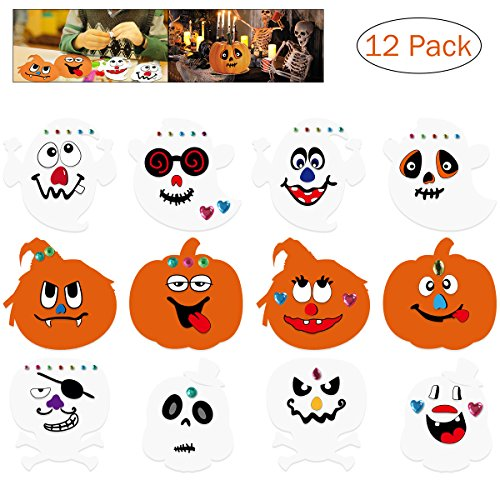 Unomor Halloween Crafts for Kids, Foam Pumpkin Crafts DIY Ghost Skull for Halloween Party Games -12SET: 12pcs Stickers,12pcs White Board, 81pcs Diamond Stickers