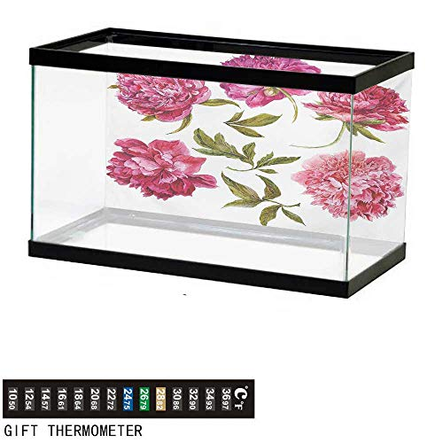(wwwhsl Aquarium Background,Floral,Spring Buds in Vivid Tones Watercolor Peony Bouquet Artwork,Fuchsia Magenta Pink Olive Green Fish Tank Backdrop 36
