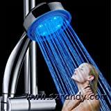 Water Power Colorful LED Shower Head Handheld Temperature Sensor Light Shower Head No Battery Bathroom Accessories Single Blue Color