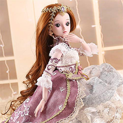 vmree Super Beautiful Princess Series BJD Doll Japan/Korea INS Hot Popular Miniature Action Bride Exquisite Artwork Collection with Movable Joints Luxury Gift - 60 cm/24 inch (A)