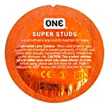 ONE Super Studs Ribbed Latex Condoms with Silver Pocket/Travel Case-12 Count