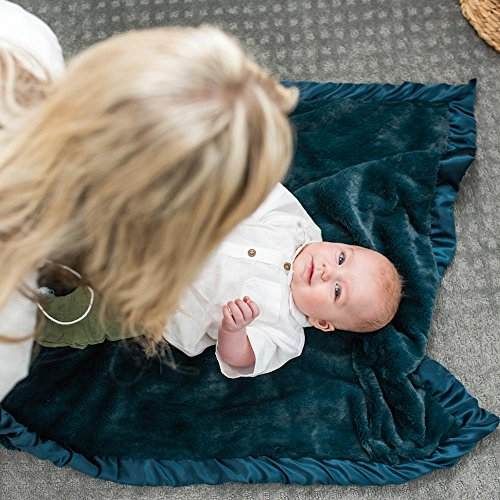 Super Soft Plush Satin Border Baby Receiving Blankets, Navy