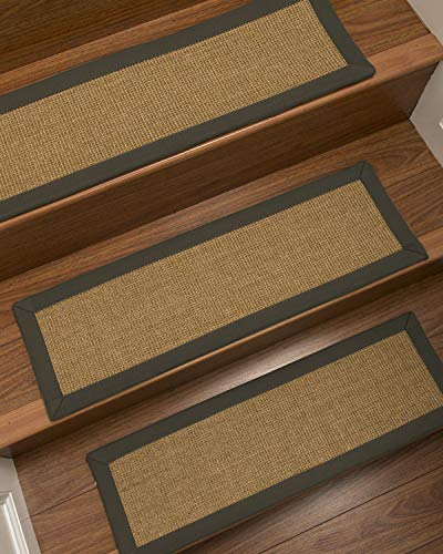 NaturalAreaRugs 100% Natural Fiber Moda, Sisal Light Brown, Handmade Custom Stair Treads Carpet Set of 8 (9