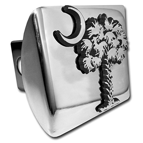 South Carolina Palmetto Tree and Moon METAL emblem on chrome METAL Hitch Cover