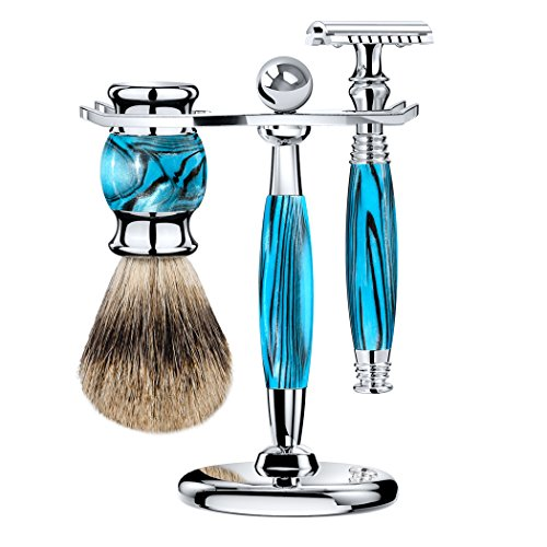 (Grandslam Safety Razor Double Edge Shaving Kit for man +Mach Fusion 5 and 10 Satety Razor Blades + Razor Stand + Finest Badger Hair Brush - Great Gift for Men and Women (safety razor, blue))