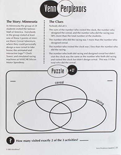 Amazon Mindware Venn Perplexors Level D 48 Puzzles Great