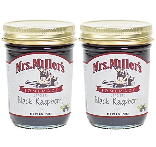 Mrs. Miller's Amish Made Seedless Black Raspberry Jam 9 Ounces - 2 Pack -