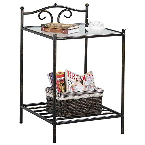 Cyanhope Glass Top End Tables Square Side Table Living Room Accent Table Black Metal Frame Bedside Table Bedroom 2 Shelf Night-Stand ()