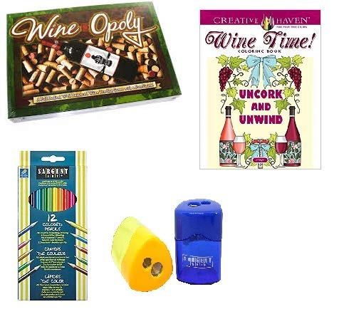 Wine Therapy Gift Bundle- Wineopoly Board Game, Wine Time Coloring Book, Colored Pencils and Sharpener Bundle