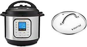 Instant Pot Duo Nova 7-in-1 Electric Pressure Cooker, Slow Cooker, Rice Cooker, 8 Quart, Easy-Seal Lid, 14 One-Touch Programs & ant Pot Tempered Glass lid, Clear 10 Inch (26 cm) 8 Quart