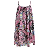 FarJing Women Fashion Loose Casual Summer Sleeveless Printed Floral Cami Flower Dress(L,Pink
