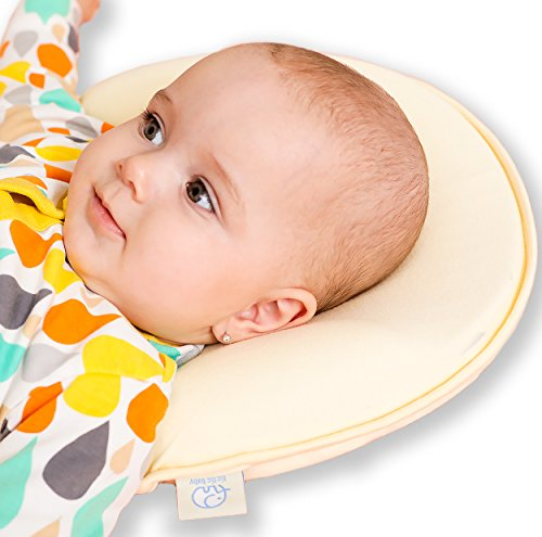 Baby Head Shaping Memory Foam Pillow - 2 Organic Cotton Covers ! - Prevents Newborn and Infant Flat Head Syndrome - Breathable- Protective - Extended - Travel Wedge Strap