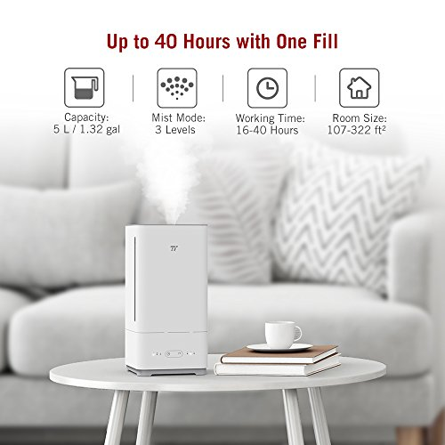 TaoTronics Top Fill Humidifiers Ultrasonic Cool Mist Essential Oil Diffuser Humidifier, Easy to Clean for Home Baby Large Room, 3 Mist Levels, Timer, Waterless Auto Shut Off -(5L/1.32 Gallon, US 110V) by TaoTronics (Image #5)