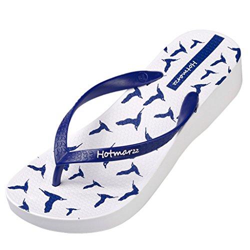 Talon Flip Tongs Mouettes Hotmarzz Compensé Flops Plage Bleu Haut Plateforme D'ete Femme Sandales CSFq1wX