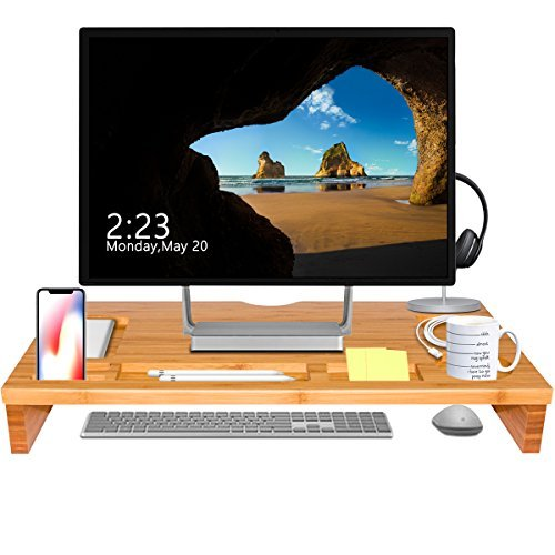 Bamboo Monitor Stand Riser, ANKO 100% Natural Bamboo Monitor Riser with Storage Organizer, Laptop, Cellphones, Cup and Daily Supplies for Home & Office. (NATURAL- 1 PACK) ()