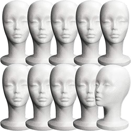 Long Neck 10 Pieces Female Styrofoam Mannequin Head
