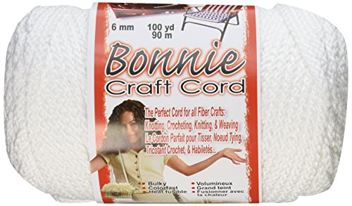 Pepperell 6mm Bonnie Macramé Craft Cord, 100-Yard, White (White Macrame)