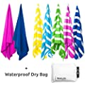 Microfiber Quick Dry Beach Towel & Waterproof Dry Bag | Lightweight & Compact yet Oversized 70x31"