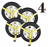 DC Cargo Mall 4 Side Mount Wheel Nets with Flat Hook and Ratchet | 4 Pack Car Wheel Lasso Straps for Auto Hauling