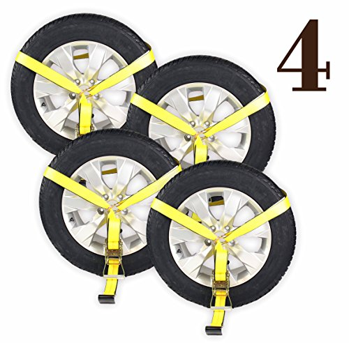 Mount Wheel Nets with Flat Hook and Ratchet | 4 Pack Car Wheel Lasso Straps for Auto Hauling ()