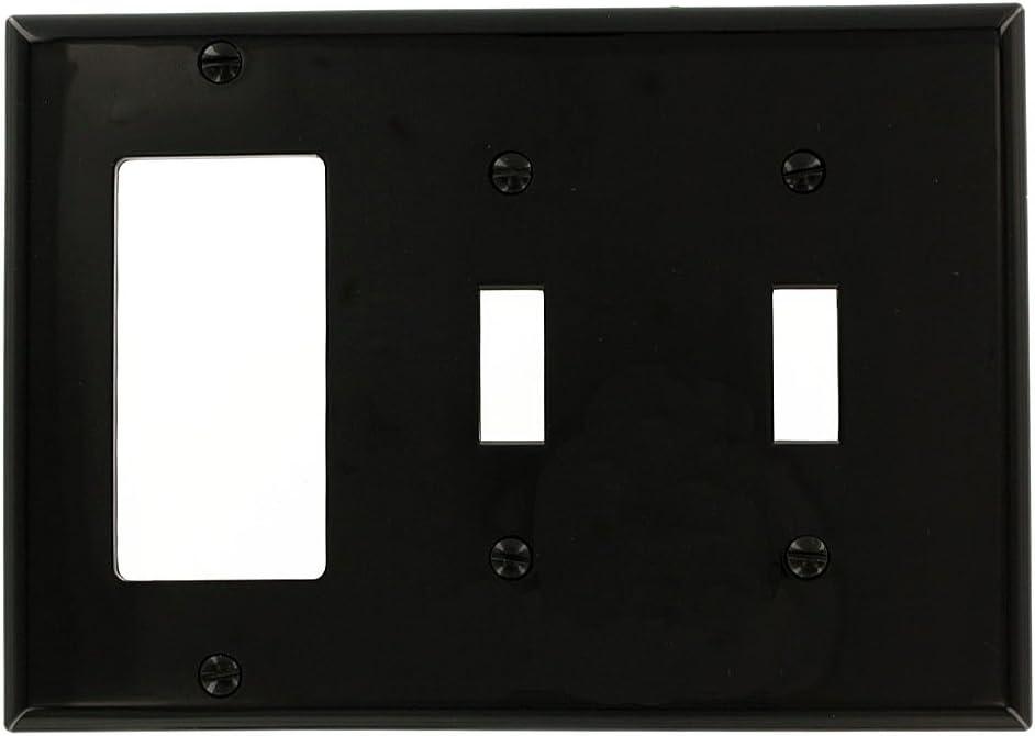 Leviton 80745-E 3-Gang 2-Toggle 1-Decora/GFCI Device Combination Wallplate, Standard Size, Black