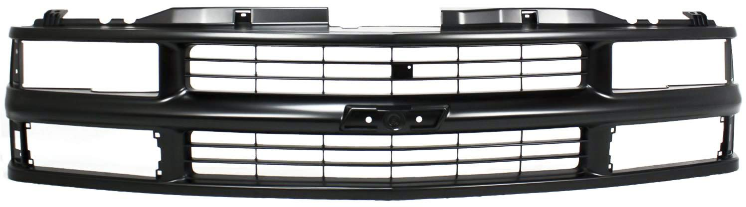 Grille Assembly Compatible with CHEVROLET C/K FULL SIZE P/U 1994-2000/SUBURBAN 1994-1999 Cross Bar Insert Painted-Blk with Dual/Composite Headlight with Sport Package