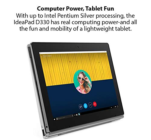 Lenovo IdeaPad D330 Intel Celeron N4000 10.1-inch HD IPS 2-in-1 Touchscreen Detachable Laptop (4GB/128GB eMMC/Win10/Lenovo Active Pen Stylus/Front +Rear Camera/HD Audio/Mineral Grey/1.14Kg) 81H3S01S00