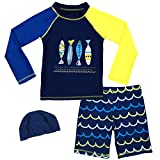 Boys Two Piece Rash Guard Swimsuits Kids...