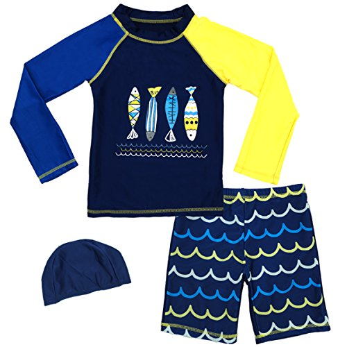 Guard Swimsuits Kids Long Sleeve Sunsuit Swimwear Sets 5T (2 Piece Sunsuits)