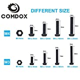 Comdox 320-Pack Phillips Cross Pan Head Machine Screws Bolts Nuts Assortment kit, Carbon Steel, Black Oxide Finish, M3 M4 Thread Size, 8mm to 20mm Length, Fully Threaded