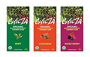 Chicza Organic Mayan Rainforest Chewing Gum, Variety Pack- Mint, Cinnamon and Mixed Berry (3 pack)