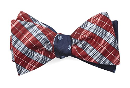 The Tie Bar 30% Wool/70% Silk Emerson Flowers Red Self-Tie Reversible Bow Tie ()