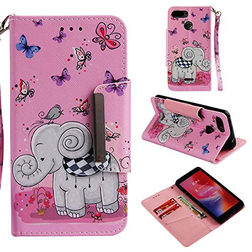 Ostop Painted Leather Wallet Xiaomi Redmi 6 Case,Redmi 6A Case,[Kickstand Feature] Butterfly Elephant Printed Pattern Magnetic Flip Cover with Card Slots and Wrist Strap Shockproof Shell