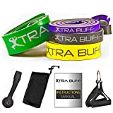 Pull-Up Assist Bands Set by XTRA BUFF – 4 Resistance Bands + 4 Accessories | Perfect for Stretching, Powerlifting & Pullup Workouts | Premium Quality Heavy Duty Latex
