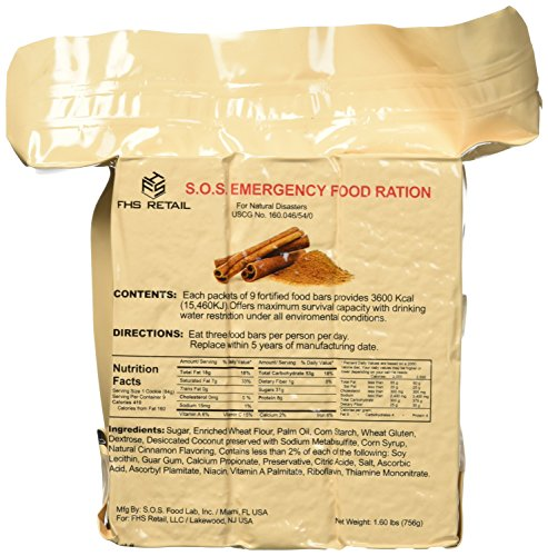 SOS Food Labs SOScin1pk S.O.S. Rations Emergency 3600 Calorie Cinnamon Flavor Food Bar - 3 Day / 72 Hour Package with 5 Year Shelf Life- 1 Pack ()