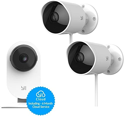 YI Indoor Outdoor Security Camera Bundle Set, 1080p 2.4G Wi-Fi Smart Home Surveillance System with 24 7 Emergency Response, Motion Detection, Phone App, 6-Month Cloud Storage Included