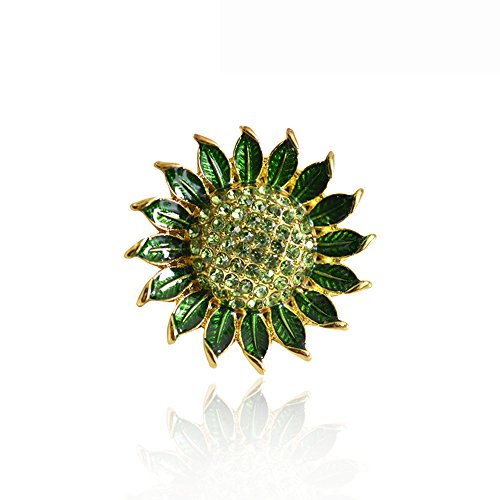Grtdrm Created Rhinestone Crystal Brooch, Brilliant Sunflower Style Fashion Pin Gift for Women Girls (Green) (Crystal Sunflower Brooch)