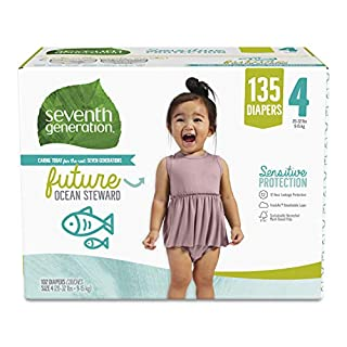 Seventh Generation Free & Clear Baby Diapers with Animal Prints Size 4, 22-37 lbs 135 count