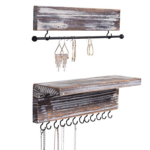 MyGift Rustic Wood Wall Mounted Hanging Jewelry Organizers Set of 2
