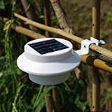 Happ Hours - Sun Powered Hot 3-LED Outdoor Solar Powered Lights Darkness Automatic Sensor PP ABS Stainless Steel Lamp Flashlight Perfect For Fence Gutter Roof Yard Wall Garden Ground Outdoor Parties Cold White (Battery is not included)
