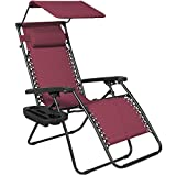Best Choice Products Folding Zero Gravity Recliner Lounge Chair W/ Canopy Shade & Magazine Cup Holder- Burgundy (Lawn & Patio)